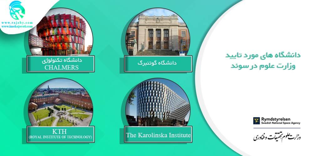 دانشگاه های مورد تایید وزارت علوم در سوئد