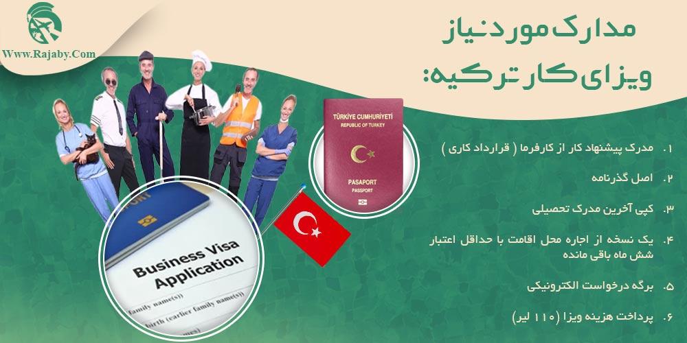 مدارک مورد نیاز ویزای کار ترکیه