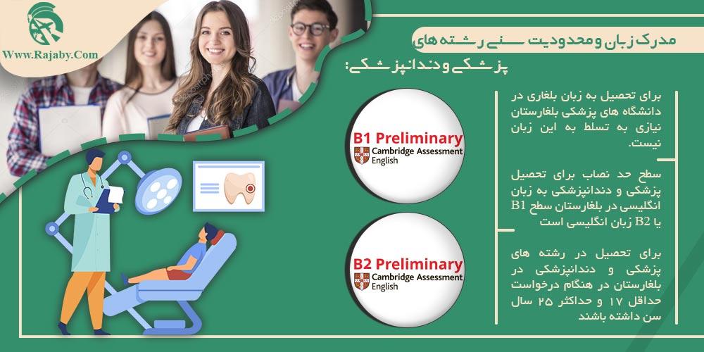 مدرک زبان و محدودیت سنی رشته های پزشکی و دندانپزشکی