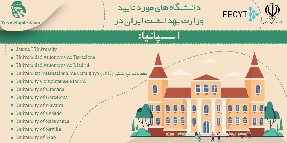 دانشگاه های مورد تایید وزارت بهداشت ایران در اسپانیا