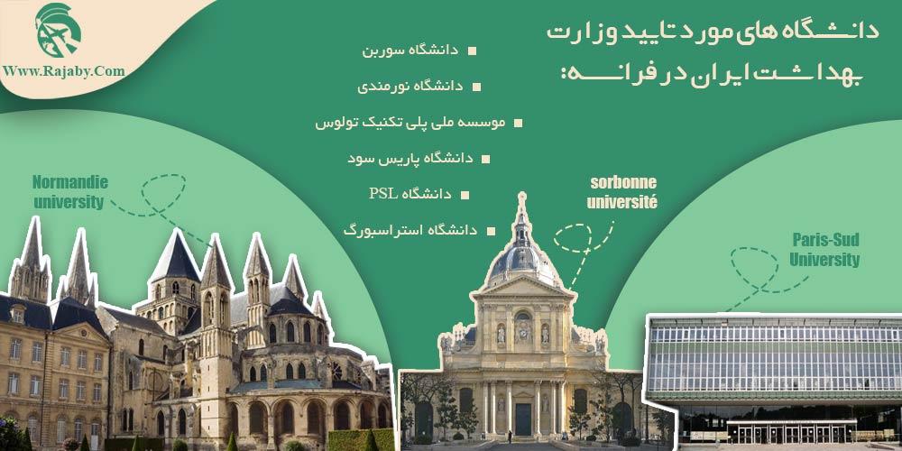 دانشگاه های مورد تایید وزارت بهداشت ایران در فرانسه